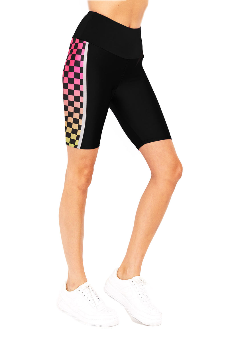 Neon Checker Stripe Biker Short