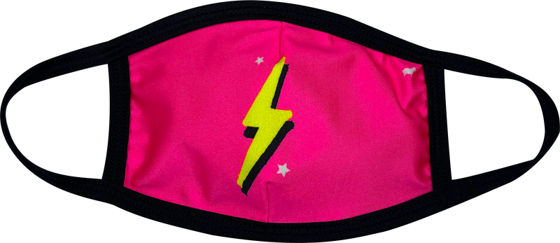 Pink Neon Bolt Face Mask