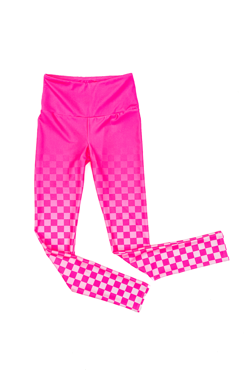 Ombre Pink Checker GS x KAB Leggings