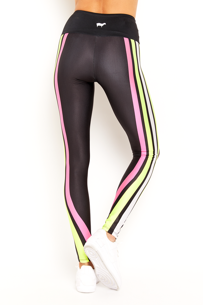 Neon Pink and Yellow Lucky Lanes Legging