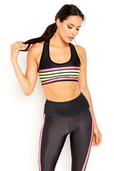 Neon Pink and Yellow Lucky Lanes Sports Bra