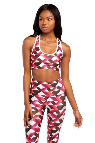 Pink and Brown Triangles Sports Bra