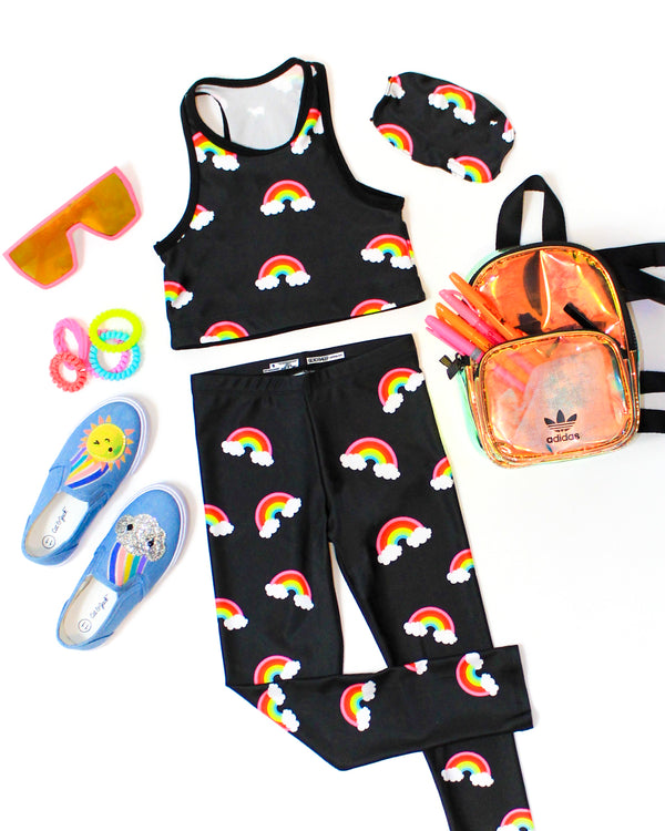 Mini Neon Rainbow Crop Top Kids