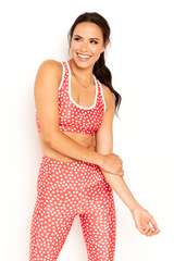Red Polka Dot Sports Bra