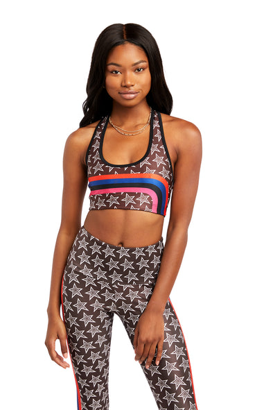 Star Stripe Sports Bra - Brown