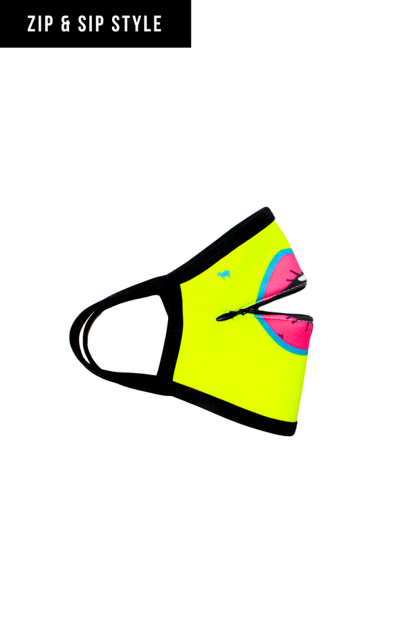Neon Yellow Lips Zip & Sip