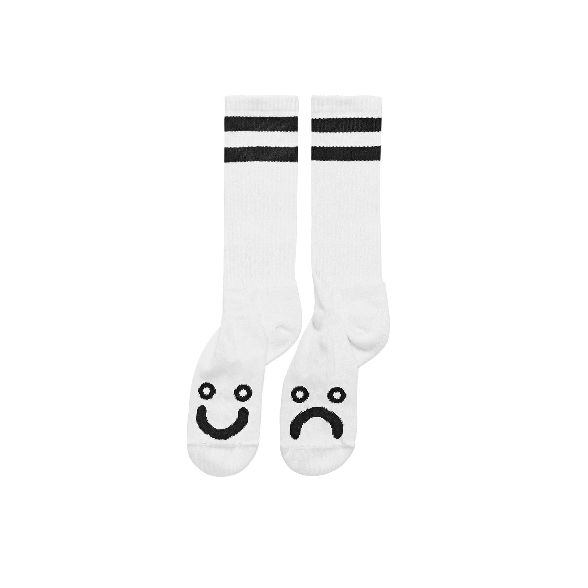 Chaussettes POLAR Happy Sad Long Socks White - Blanches