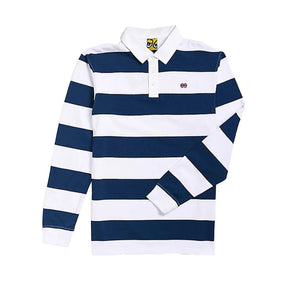 Polo Rugby Manches Longues KROOKED Eyes Navy / White - Bleu Marine / Blanc