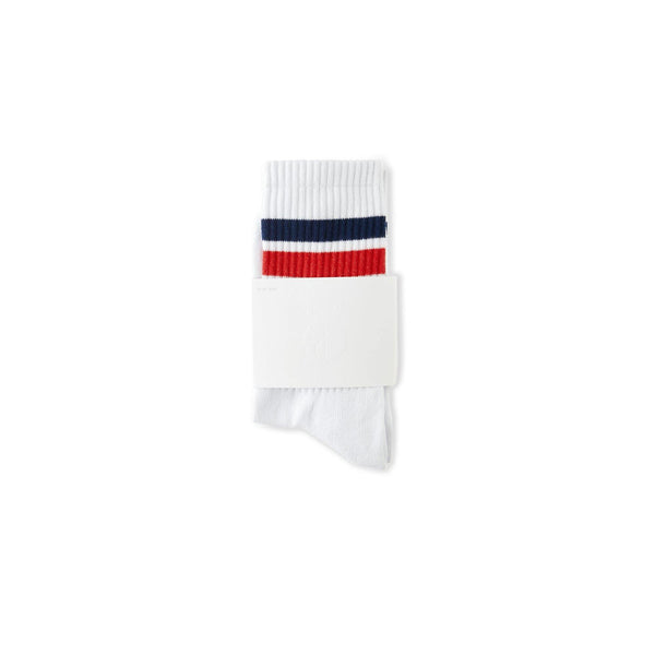 Chaussettes POLAR Stripe Socks White / Navy / Red - Blanc / Bleu Marine / Rouge - SUBIACO SKATESHOP