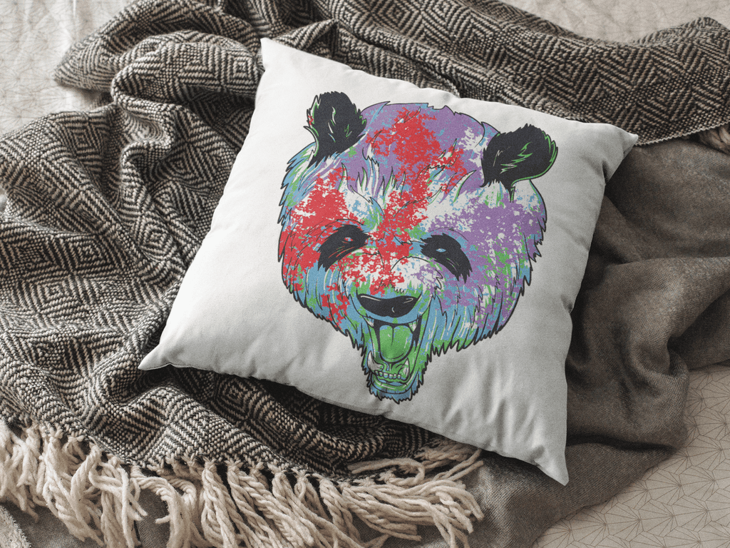 Rainbow Panda Square Pillow