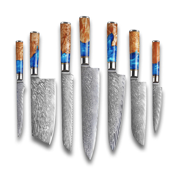 Damascus Steel Knives with Blue Resin Handle