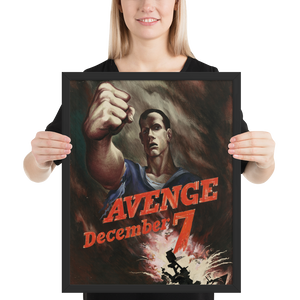 Avenge December 7th! Framed WWII Propaganda Poster-Warrior Lodge Media