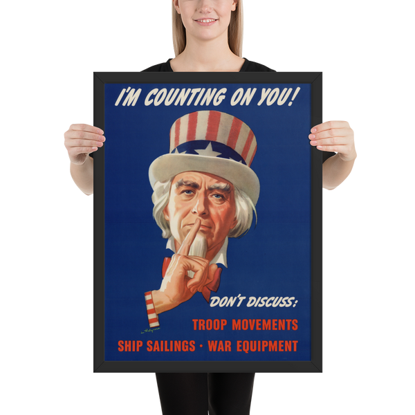 Don't Discuss Framed WWII Propaganda Poster