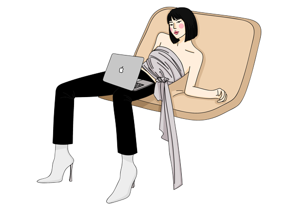 An illustrated model sitting on a couch with KNOTWEAR's apparels.