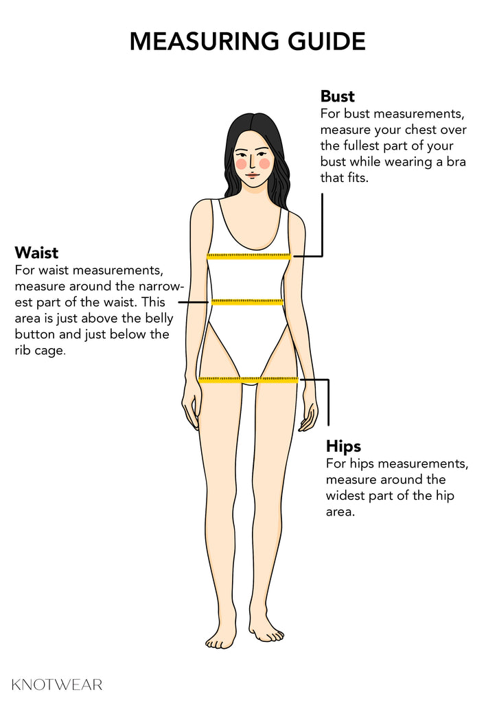 KNOTWEAR measuring guide for bust, waist and hips.