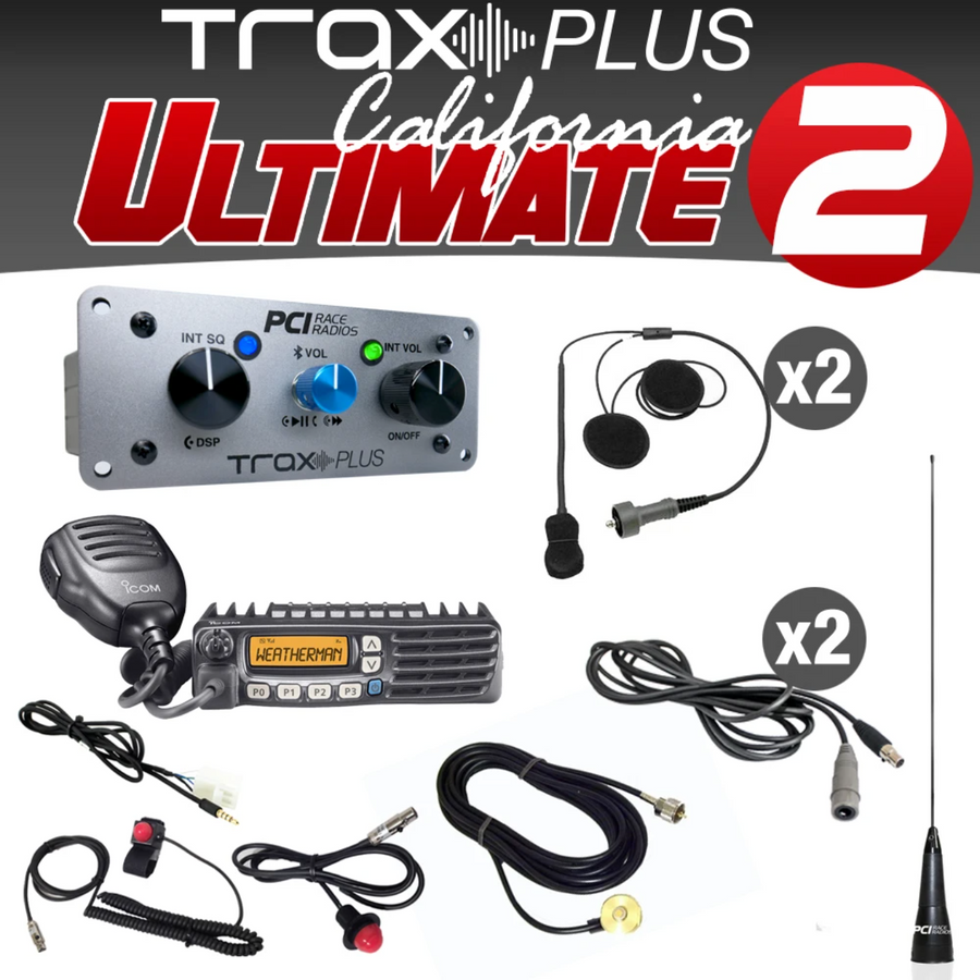 PCI RACE RADIOS TRAX PLUS CALIFORNIA ULTIMATE 2 INTERCOM PACKAGE
