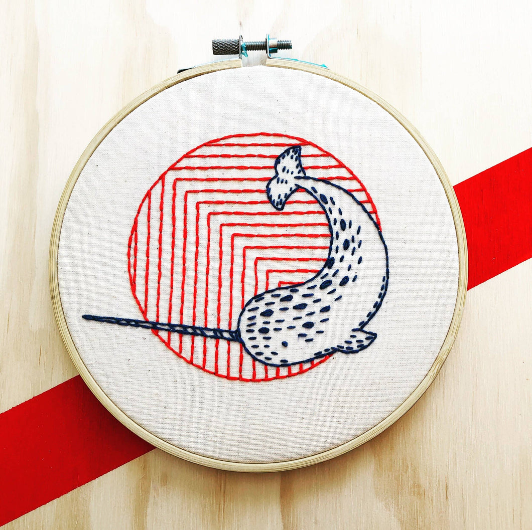 Narwhal Embroidery Kit