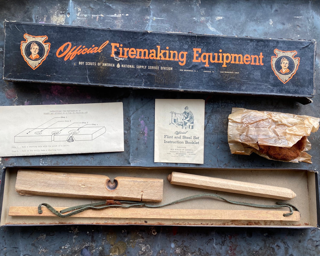 Vintage Boy Scouts Bow Drill Fire Making Kit