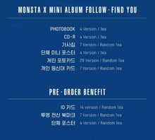 Cargar imagen en el visor de la galería, Monsta X FOLLOW - FIND YOU (Versión Random)-Albums-Corea Box-FIND YOU (random version)-Doblado o no poster-Corea Box