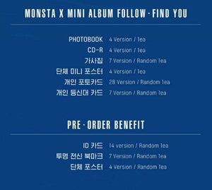 Monsta X FOLLOW - FIND YOU (Versión Random)-Albums-Corea Box-FIND YOU (random version)-Doblado o no poster-Corea Box