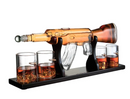 "Gun Large Decanter Set Bullet Glasses - Limited Edition Elegant Rifle Gun Whiskey Decanter 22.5"" 1000ml With 4 Bullet Whiskey Glasses and Mohogany Wooden"