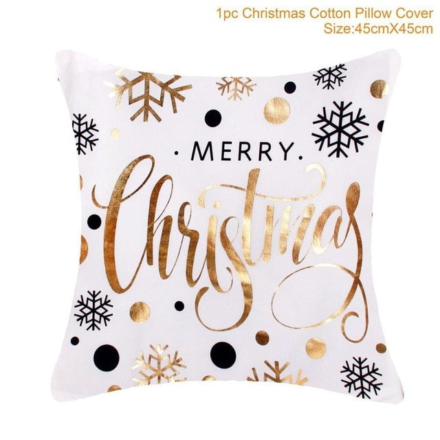 Cotton Linen Merry Christmas Cover Cushion Christmas Decor for Home
