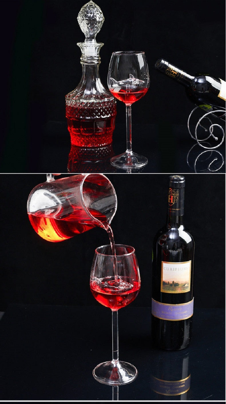 Built-in Shark Wine Glass New Design Goblet Whiskey Glass Dinner Decorate Handmade Crystal For Party Flutes Glass