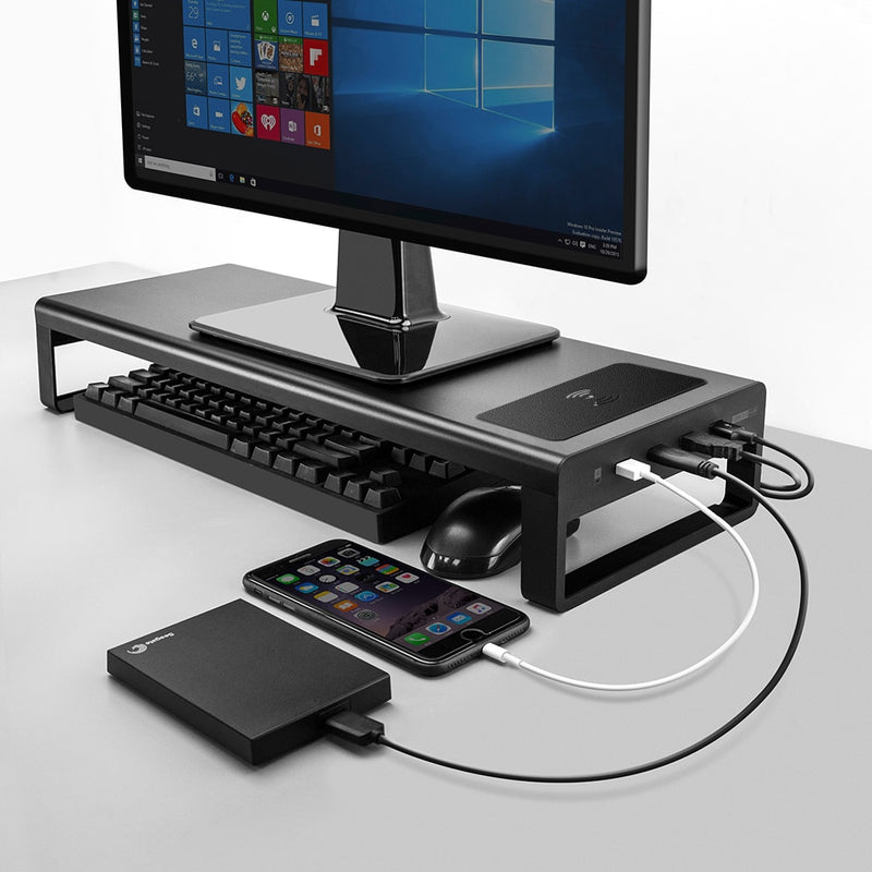 USB3.0 Wireless Charging Aluminum Monitor Stand