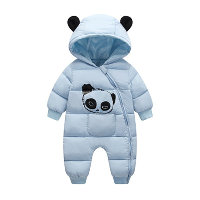 Cute Panda Baby Winter Hooded Rompers Thick Cotton Warm Outfit Newborn Jumpsuit Overalls Snowsuit Children Boys Clothing CL2092