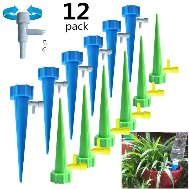 6/12/18PCS Self-contained Auto Drip Irrigation Watering System Automatic Watering Spike for Plants Flower Indoor Household