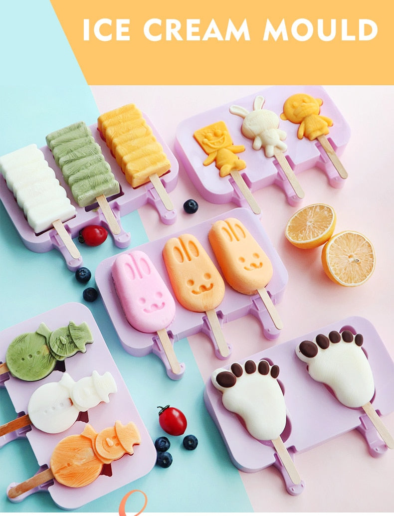 DIY Popsicle Molds HomemadeWith 50 Wooden Sticks Cartoon ice cream silicone mold
