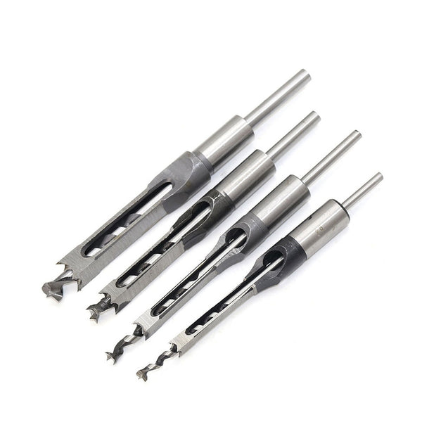 6-16mm Woodworking Bit Hole Drill Guide Square Hole Saw Mortise Chisel Wood with Twist Drill Carpenter Square Drill Bit Tool