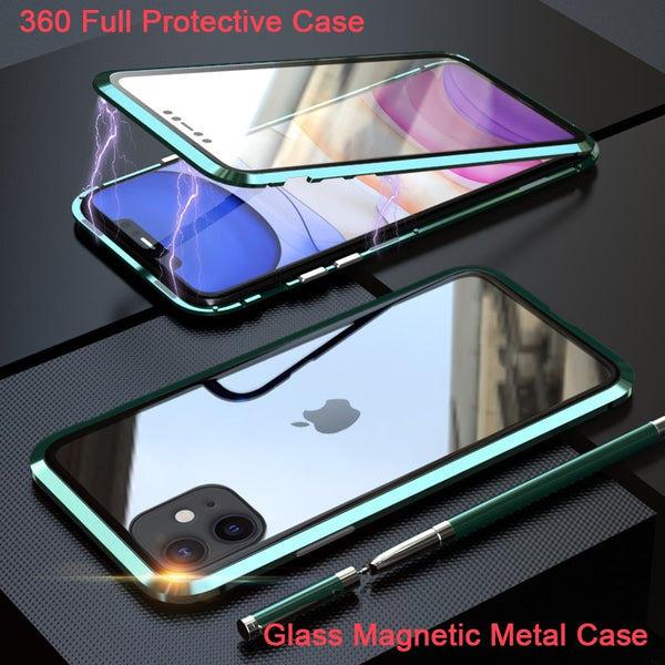 Upgraded Two Side Tempered Glass Magnetic Adsorption Phone Case for Iphone