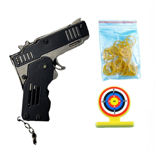 All Metal Mini Folding Rubber Band Gun Outdoor Military Sport Toy Keychain - Red - Gun-100 rubbers[ FREE SHIPPING]