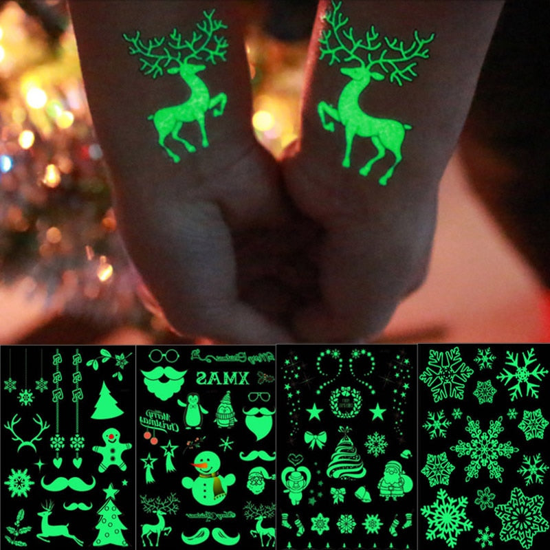 Christmas Luminous Tattoo Santa Snowflake Waterproof Glow Tattoo Sticker for Kids Xmas Gifts Christmas Navidad Natal Decorations