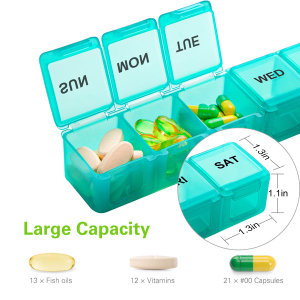 Extra Large Traveling Pill Organizer for Vitamins, Fish Oils, Supplements