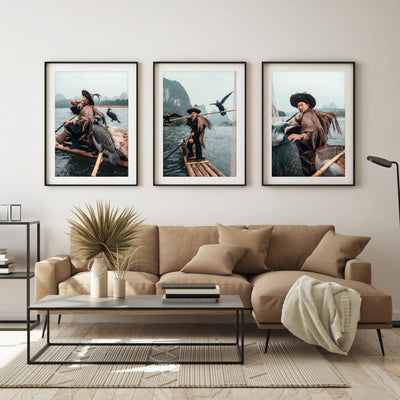 Yangshuo Cormorant Fisherman Prints - Set of 3 - Peter Yan Studio