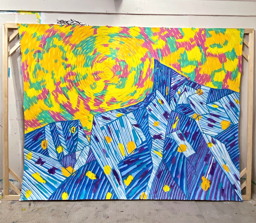 Peaks, acrylic painting on unstretched canvas 7ft x 9.5ft