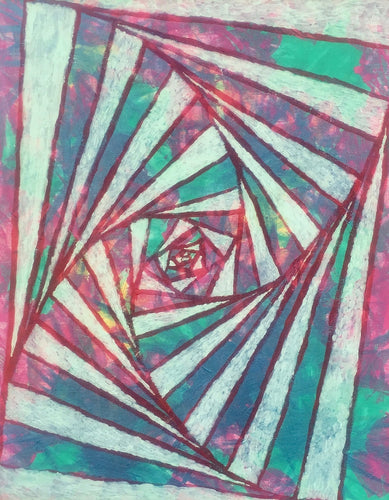 Triangle spiral 2, Original acrylic painting 20