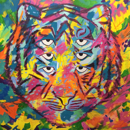 Six Eyed Rainbow Tiger, original acrylic painting on unstretched canvas 84