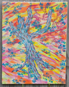 "Blue Tree, original acrylic painting 18""x14"""