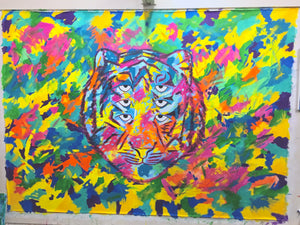"Six Eyed Rainbow Tiger, original acrylic painting on unstretched canvas 84"" x 110"""