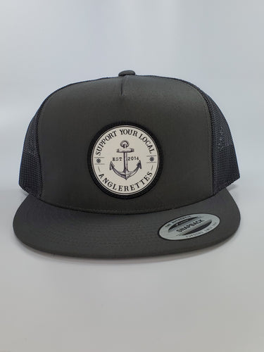 New!!! Support your Local Anglerettes Charcoal Flat Bill Hat