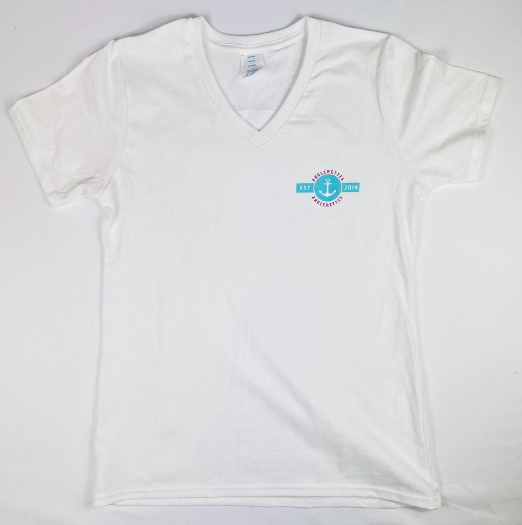 NEW!! Sea Horse Logo White V Neck