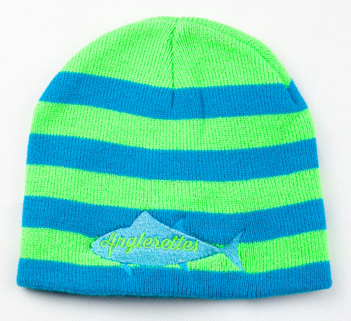 Blue and Neon Green   Beanie