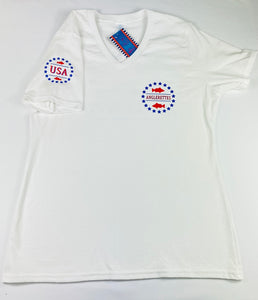 Bass Flag White V Neck