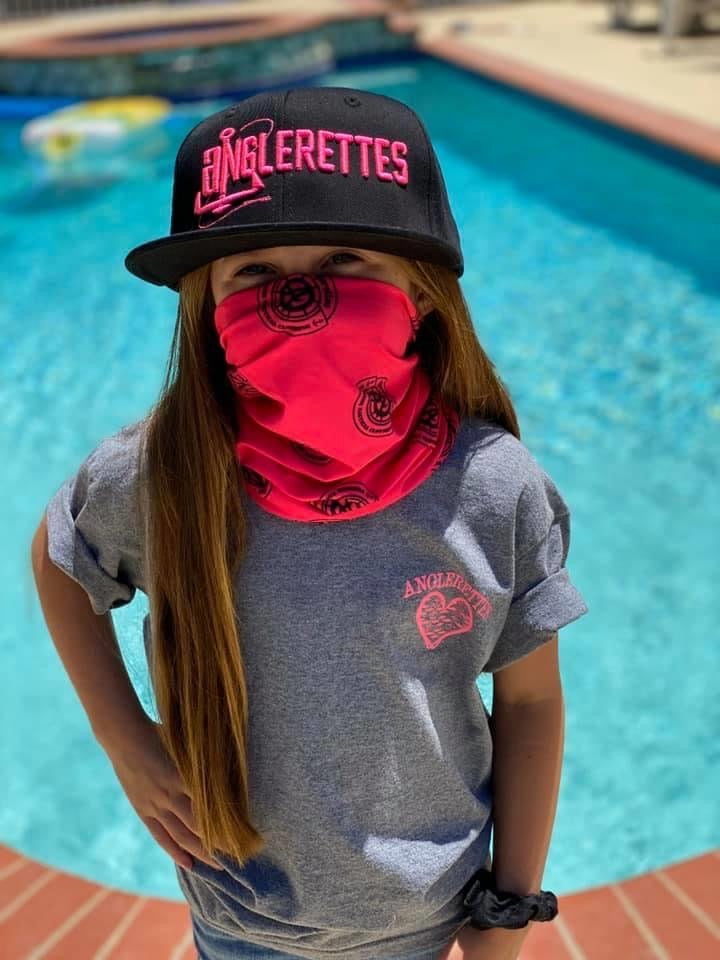 Kids face shield with Anglerettes logo
