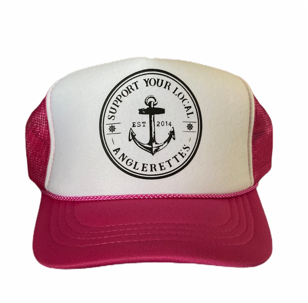 Support Your Local Anglerettes Pink  Foam Trucker Hat Foam Front Mesh Back Trucker Hats