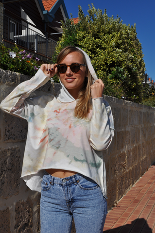 Cotton Hoodie Tie Dye Fit Bird