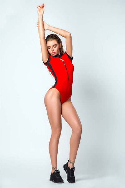 Swimsuit One-Piece Surf Sport Red Designed for Fitness Australia